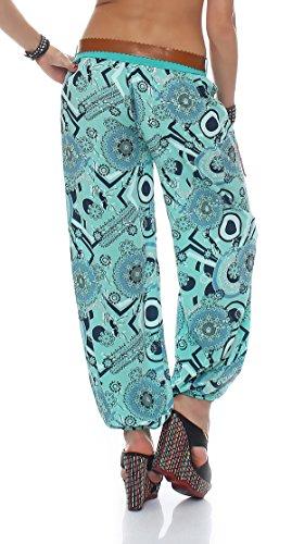 CLEOSTYLE stylische Sommerhose, leichte luftige Haremshose mit Druck und Gürtel aus der aktuellen Kollektion 2017 CL 4005 Petrol