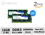 Timetec® 16GB KIT (2x8GB) Dual Rank 1600MHz DDR3 (PC3-12800) Non-ECC Unbuffered CL11 204-Pin SODIMM 2Rx8 512x8 1.35V Laptop PC Computer Memory Ram Module Upgrade 16GB KIT (2x8GB)