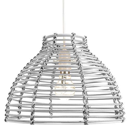 Traditioneller Korb Stil Grau Rattan Weide Decke Pendeldecke Hängende Beleuchtung Schirm von Happy Homewares - Glas-schirm-decken-beleuchtung