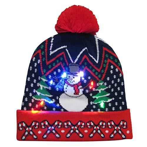 VENMO HAT Frohe Weihnachten Light-Up Strickmütze Beanie Hairball Warme Mütze Wintermütze Mütze Strickmütze Bommelmütze, Hüte Mützen Caps, Gehörschutz Verdicken Warme Street Classics Cozy (Up Light Hat)