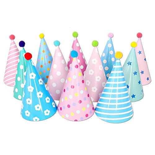 Olen 12pcs Geburtstag Kegel Partyhüte mit Pom Poms
