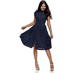 oodji Ultra Mujer Vestido Midi con Falda Acampanada, Azul, ES 42 / L