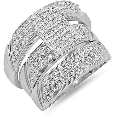 0.65quilates (quilates) 10K oro blanco Diamante redonda Hombre y Mujer Micro Pave Anillo de compromiso Trio novia Set