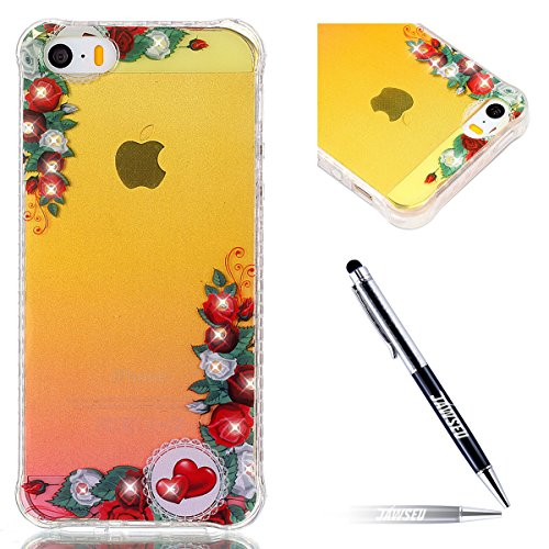 iPhone 5S Coque en Silicone Bling,iPhone SE Etui Tpu Transparent,JAWSEU Brillante Glitter Sparkle Étoiles Paillette Diamant Strass Case Cristal Clair Flex Soft Tpu Coque Housse élégant Beautiful Mode  rouge fleur