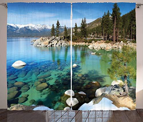 ABAKUHAUS Lake Tahoe Rustikaler Gardine, Sommer-See-Foto, Schlafzimmer Kräuselband Vorhang mit Schlaufen und Haken, 280 x 175 cm, Mehrfarbig - Tahoe Schlafzimmer