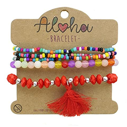 Five Pack Great Value Multicoloured Micro Beads, Clear Colour Beads and Red Tassle Ladies Bracelet Perfect for Beach Summer Festival Season Wristband