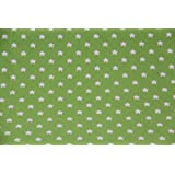 Homescapes Tela de 100% Algodón con Estampado de Estrellas Verde