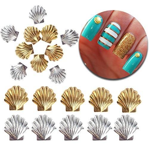 3D Nail Art Maniküre Designs Dekorationen Packung mit 20Stück 3MM und 5mm Metall Nieten in Muscheln Muscheln Formen Formen, Farben silber und golden