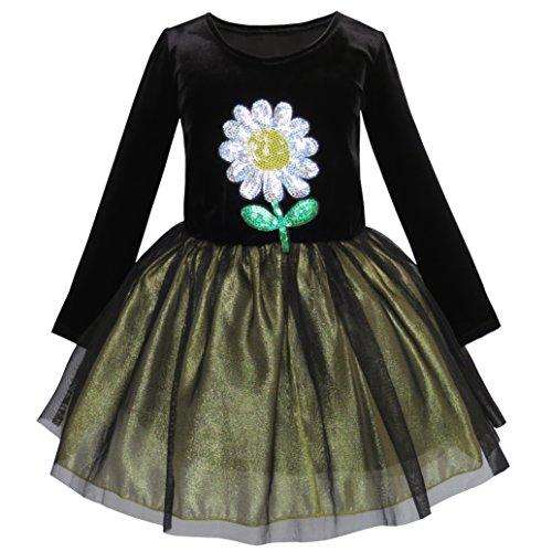 Mädchen Kleid Blume Bestickte Lange Ärmel Tüll Kleiden Gr. 134 (Bestickte Mädchen-kleid)