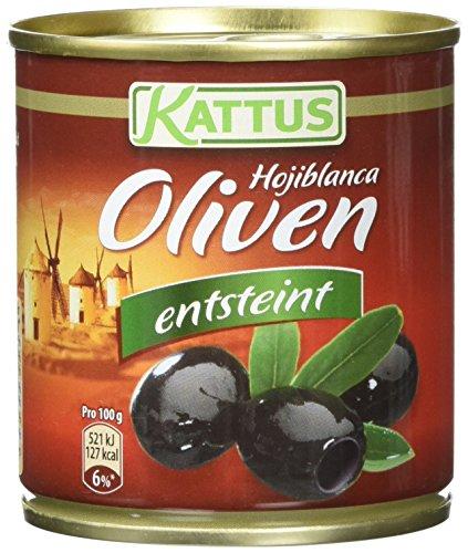 Kattus Spanische schwarze Oliven, entsteint, 8er Pack (8 x 80 g)
