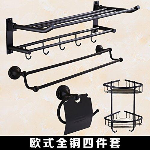 4 Stück Badezimmer Handtuchhalter (MangeooAlle Kupfer Schwarz faltbare Badewanne Handtuchhalter, Badezimmer antike Handtuchhalter, Falten Badetuch 60cm 4 Stück Set 2)