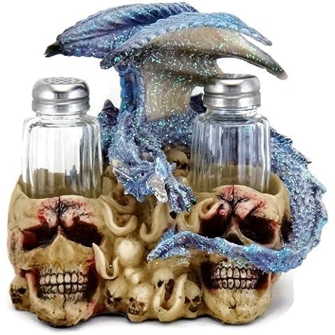 3D Blue Dragon on Skulls Salt & Pepper Shakers Table Set by IAC International