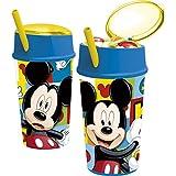 Mickey Mouse - Vaso plastico con tapa, pajita y compartimento snack 400 ml (Stor 22001)