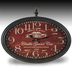 signes grimalt horloge murale ovale chablis grand cru rouge 50 cm57416sg cuisine. Black Bedroom Furniture Sets. Home Design Ideas