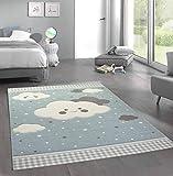 Merinos Teppich für Kinder mit Wolken Spielteppich in Blau Größe 120x170 cm