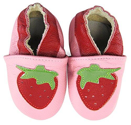 weiche Premium Leder Krabbelschuhe Lauflernschuhe Babyschuhe mit verschiedenen Motiven Rosa Erdbeere