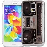 JAMMYLIZARD | Vintage Back Cover Hülle mit Muster für Samsung Galaxy S5 / S5 Neo, KASSETTENRADIO