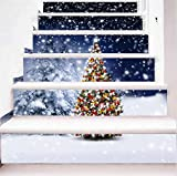 LT&DM 3D Stairs Stickers Removable Self-adhesive Waterproof PVC Wall Decals For Christmas Holidays Birthday Party 1 Set 6 pcs 100*18cm , C