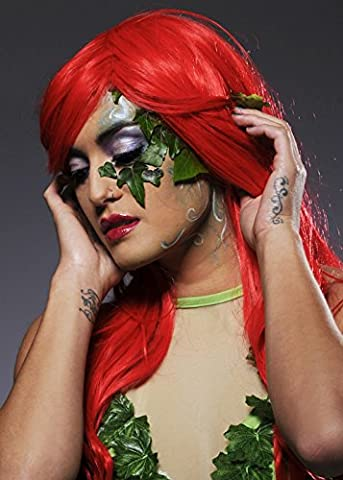 Womens Long Bright Red Poison Ivy Style Perücke