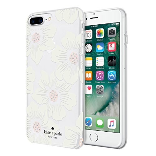 Kate Spade New York Hardshell Case Schutzhülle für Apple iPhone 7 Plus / 8 Plus - Hollyhock Floral/Cream [Transparent I Glitzer Akzente I Schwarzes Logo I Hochwertige Materialien] - KSIPH-056-HHCCS -