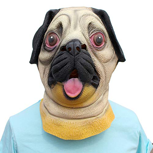 Vorhanden Tragen Hunde Kostüm - SKY FLM Halloween Maske,Hundemaske,Halloween Kostüm Party Tierkopf Latex Maske Mop Hund Bulldogge