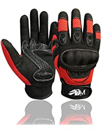 New Motorbike Riding Gloves Full Finger Motorcycle Sports Mountain Bike Protection Summer Gloves Black-Red 9001