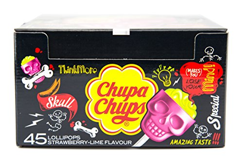 Skull Chupa Chups Halloween Lollies Double Strawberry & Lime Flavour 15g (Pack of 45)