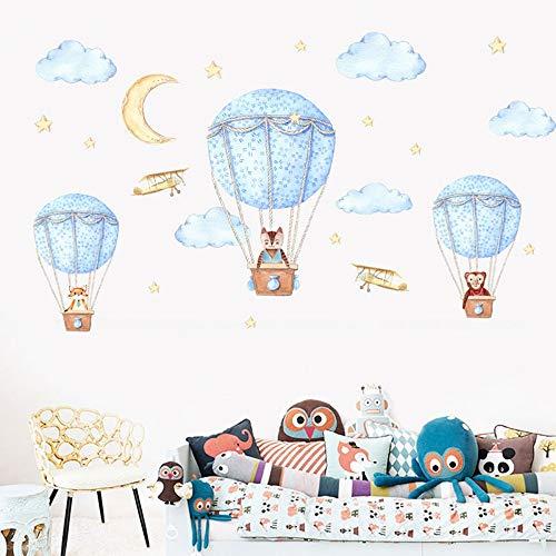 Cartoon Heißluftballon Wandaufkleber Tiere Sky Stars für Kinderzimmer PVC Wasserdichte Abnehmbare Wandtattoos für Wohnzimmer Wandbild