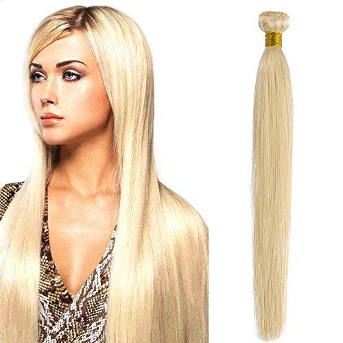 Extension tessitura capelli veri matassa lisci brasiliani 55cm extensions bionde double weft virgin human hair 1 bundle grado 7a 100g #613 biondo chiarissimo