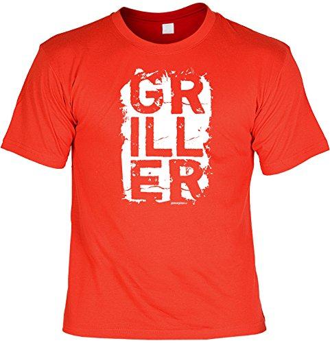 cooles witziges Fun T-Shirt für Damen Herren in der Farbe rot mit Grill Motiv ideales Geschenk Rot