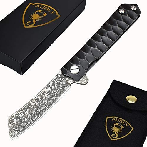 AUBEY Tanto Messer Damast Klappmesser Outdoor Taschenmesser Scharf Angelmesser EDC Damastmesser Survival Jagdmesser Damaststahl Knife (Tanto T)