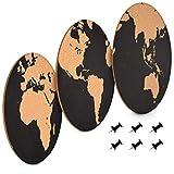Navaris 3x Kork Pinnwand Korkwand Set - Weltkarte rund Pinboard Korkplatte Tafel - Pinwand 3 World Map Designs - Korktafel Memo Wand inkl. 6 Pins