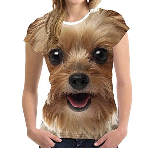 T Shirt Mit 3D Druck für Frauen, Lustige Animal Print Bluse Sommer Kurzarm Top, 2019 Mode Shirts Sommeroberteile