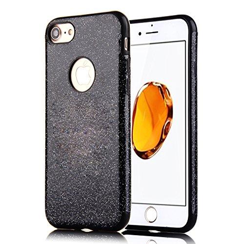 iPhone 8Plus Handyhülle, Funkeln-Glänzend-Serie CLTPY iPhone 7Plus Taschen Gold Plating TPU Schale Case Dünne Crystal Silikon Schutzfall für Apple iPhone 7Plus/8Plus + 1 x Freier Stylus - Chinesisch R Vollschwarzes