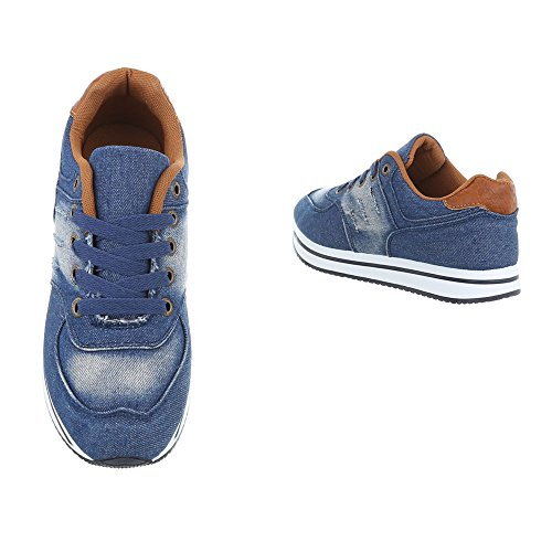 d4570afcaa4d26 ... Ital-Design Sneakers Low Damenschuhe Sneakers Low Sneakers Schnürsenkel  Freizeitschuhe Blau AB-140