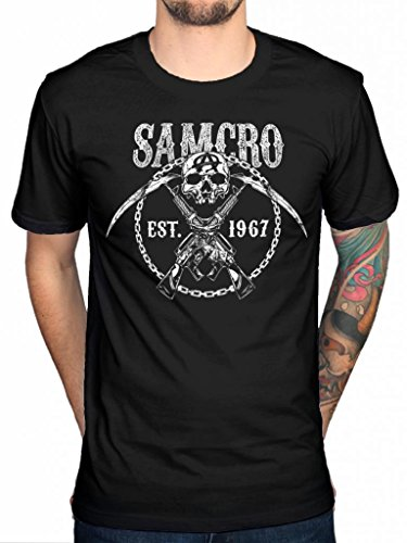 Official Sons Of Anarchy Cross Guns-Jax Teller Motorcycle Club Samcro argilla nero XX-Large