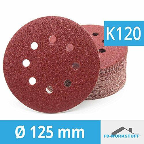 Lot de 50 disques abrasifs Ø 125 mm Grain 120 pour Ponceuse excentrique de 8 trous
