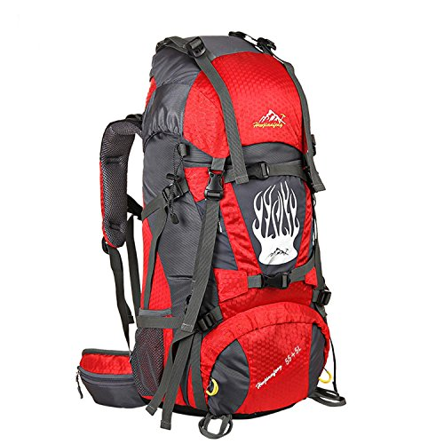 55+5L Hiking Rucksack interner Frame Bergsteigen Tasche Multifunktions-Nylon wasserdicht Leichtbau Rucksack für Bergsteigen Reisen Klettern und andere Outdoor Sports H75 x L37 x T24cm Red