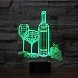 orangeww Luz nocturna 3d Ilusión creativa Led 7 colores Usb Touch Lámpara de escritorio Regalo para niños Sueño Bebé Regalo de Navidad Copa de vino