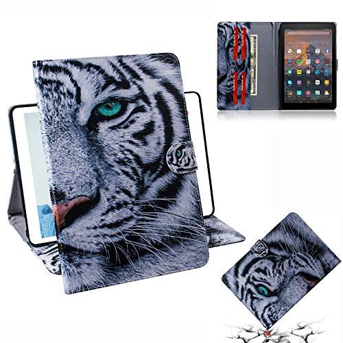 Jctek Tablet Lederhülle für Amazon Fire HD 10 Tablet (7. / 5. Generation, Version 2017/2015), schlankes und leichtes Smart Case Stand Schutzhülle für Fire HD 10,1 Zoll Tablet Tiger 10.1 inch Tiger Stand Bag