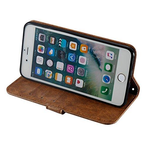 iPhone 8 Plus Hülle,Schwarz 3D Schwarzer schädel PU Leder Wallet Handytasche Flip Etui Schutz Tasche mit Integrierten Card Kartensteckplätzen und Ständer Funktion Für Apple iPhone 8 Plus + Zwei Gesche braun