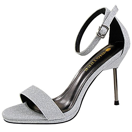 Oasap Women's Open Toe High Stiletto Heels Glitter Sandals Silver