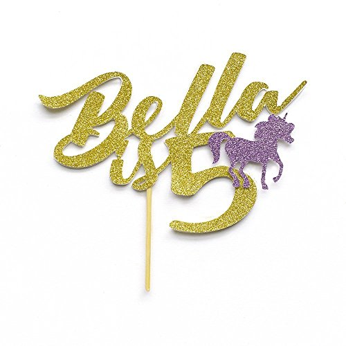 "Birthday Custom""Name is age"" Cake Topper with Decorative Unicorn. Birthday Party Decoration. Personalised with Name and Age. Any Glitter Colour. Years Old. Any Age Birthday Celebration."