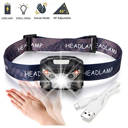 LED Stirnlampe, ASEL Stirnlampen Aufladbar USB Kopflampe 5 Modus, Led-stirnlampe Laufen Wasserdicht 150LM 1200mAH für Nachtlese Camping Joggen Angeln Abenteuer Bergsteigen Fahrrad, inklusive USB Kabel