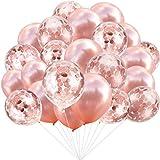 Rose Gold Ballons (30 Stück) + Rose Gold Konfetti Ballons (30 Stück), insgesamt 60 Stück 12 Zoll Party Latex Ballon für Geburtstag Hochzeit Verlobung Party Braut Baby Shower Party...