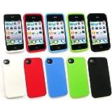 Emartbuy Apple Iphone 4 4G 4Gs Hd Bundle Pack Of 5 Silicon Case / Cover / Skin - Weiss, Rot, Blau, Grün Und Schwarz