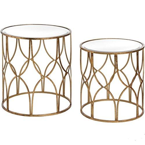 DOWNTON INTERIORS Set aus 2Modernen Rund Metall Gold Glas Seite Ende Tabellen (h18397) * * Perfekt für Jeden Raum * * -