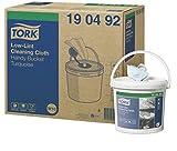 Tork 190492 Panno Premium per pulizia senza residui in secchiello, compatibile con il sistema W10 (secchiello estrazione centrale), monovelo, 1 conf. x 4 rotoli (4 x 60 m), colore turchese
