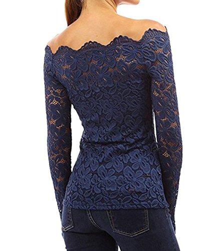 Femme Manches Longues Elégant Tops Sexy T-shirt Floral en Dentelle Chemisiers Slim Haut Blouses Shirt Off Épaules Bleu