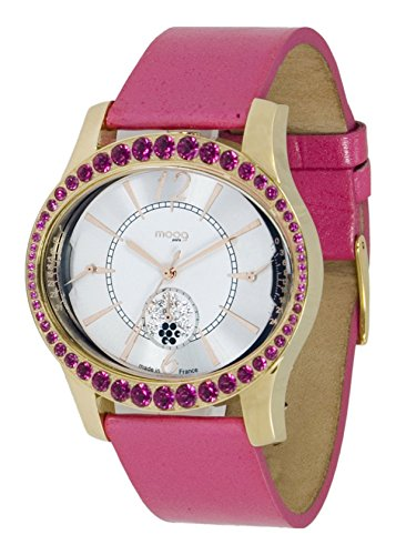 Moog Paris Anti Gravity Women's Watch with White Dial, Pink Genuine Leather Strap & Swarovski Elements - M44862-104